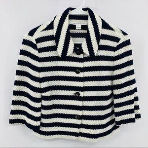 Diane VonFurstenberg Blue & White Striped Cardigan